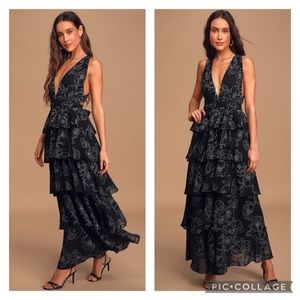 "NWT Lulu's ""Blooming Kiss"" Black Tiered Dress"